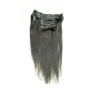 Natural Color Silky Straight Indian Remy Hair Clip In Human Hair Extensions