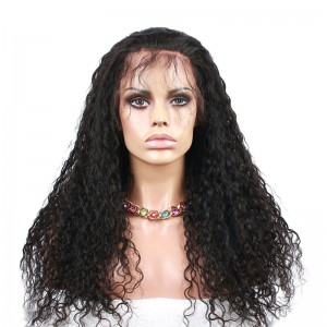 Natural Color High Quality Brazilian Virgin Human Hair Wig Water Wave Lace Front Wigs