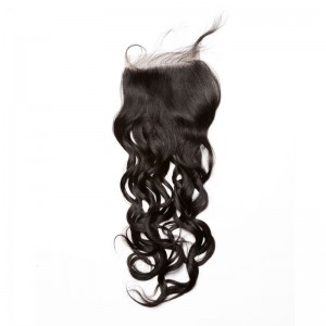 Mongolian Virgin Hair Wet Water Wave Free Part Lace Closure 4x4inches Natural Color