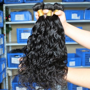Natural Color Indian Remy Human Hair Water Wet Wave Hair Weave 3 Bundles