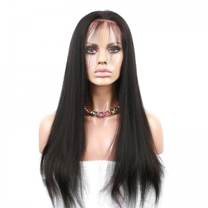 Natural Color Light Yaki Brazilian Virgin Hair Lace Front Human Hair Wigs