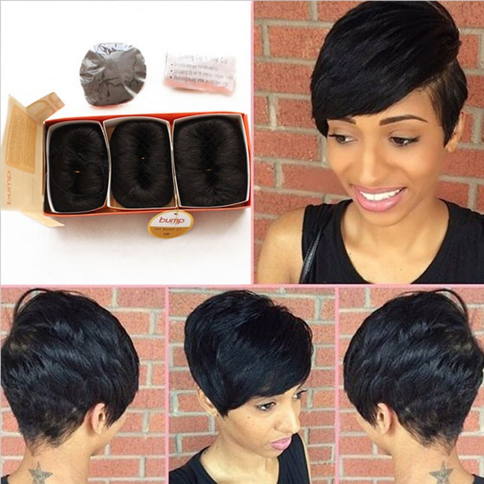 Brazilian Human Short Hair Extensions 27 Pieces Straight Weave Style
