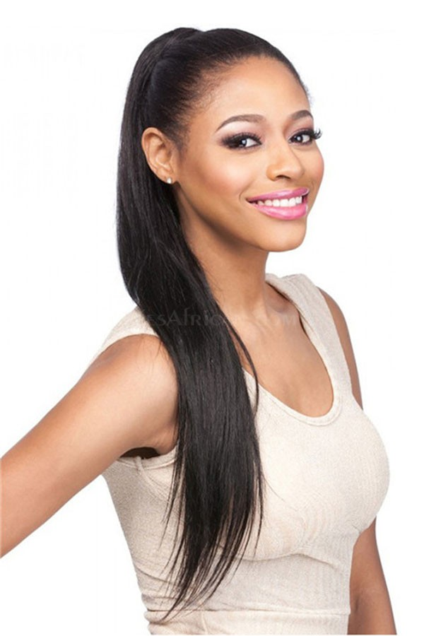 Human Hair Extensions Straight Ponytails Hairpieces Natural Pony