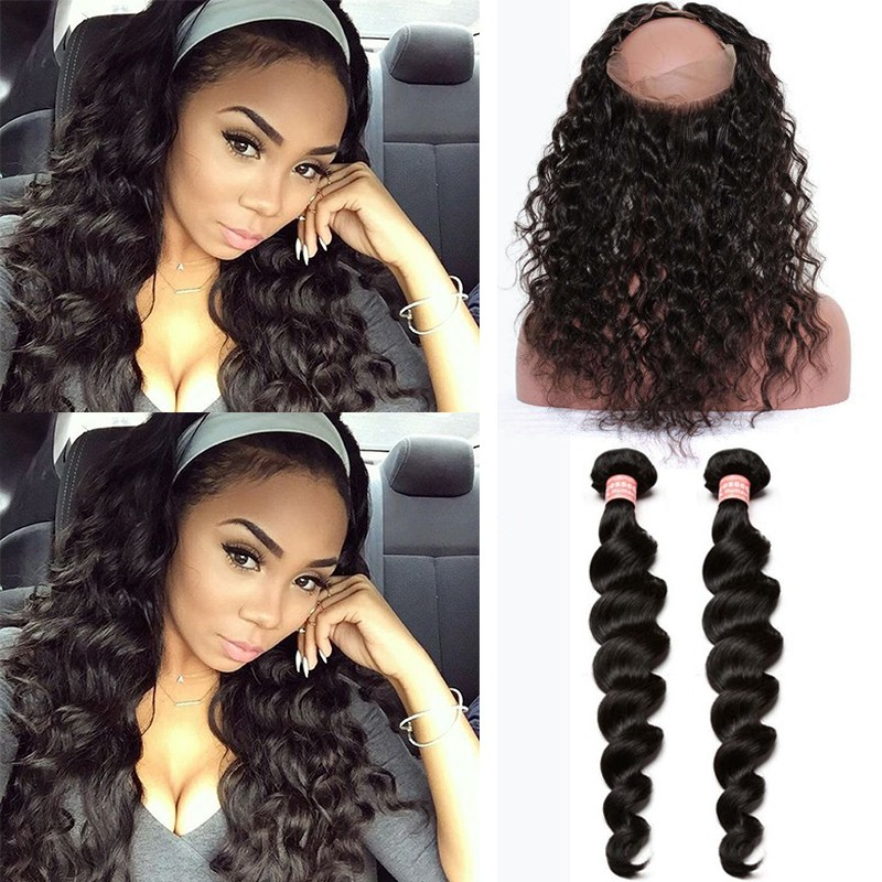 360 Lace Frontal Closure With 2 Bundles Loose Wave Brazilian Virgin Hair  360 Lace Band 7cc7b4c1e