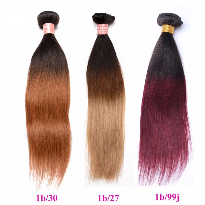 Silk Straight 1b30 Ombre Color Brazilian Virgin Human Hair Weave 4