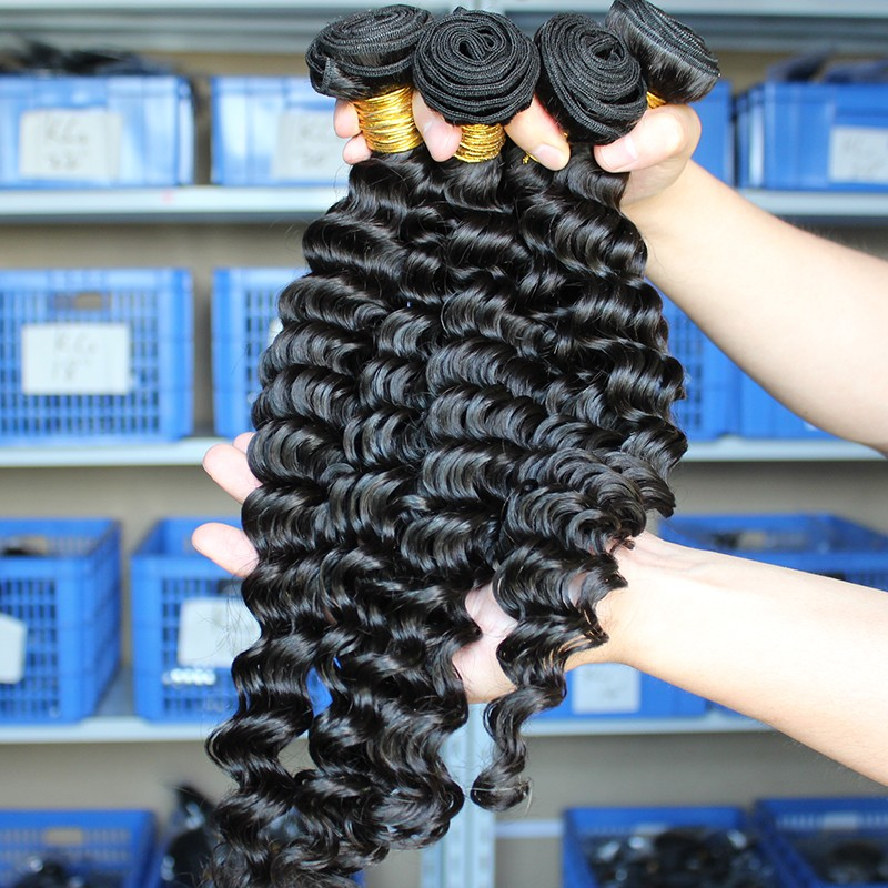 Indian Virgin Human Hair Extensions Weave Deep Wave 4 Bundles