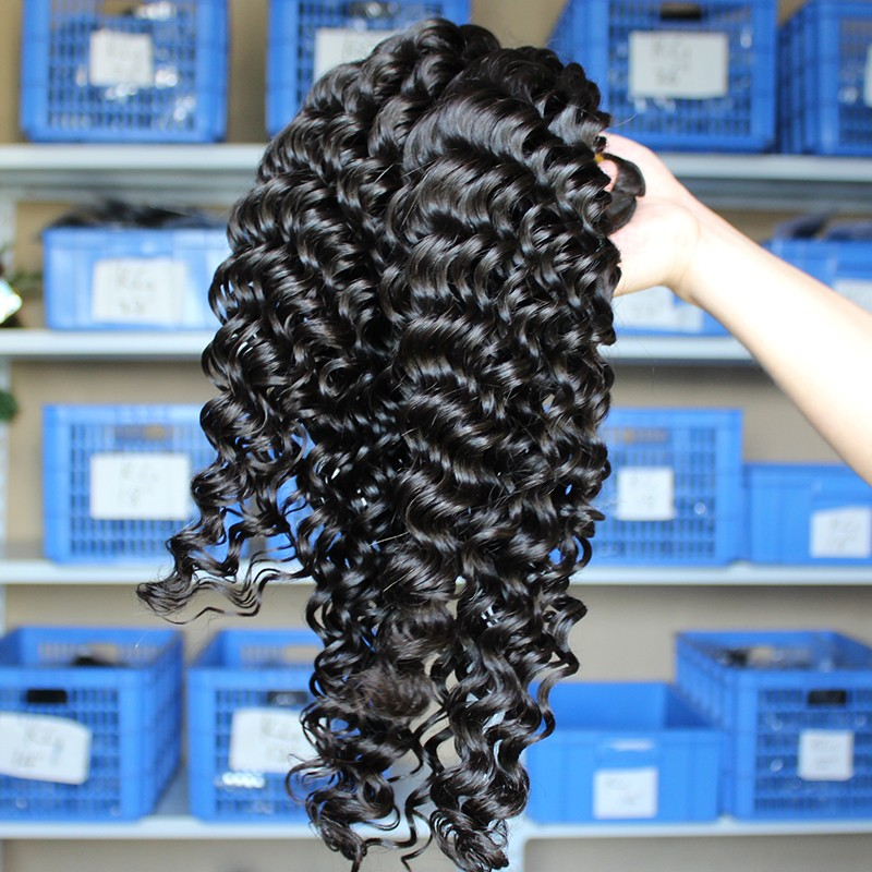 Indian Remy Human Hair Extensions Weave Deep Wave 4 Bundles Natural