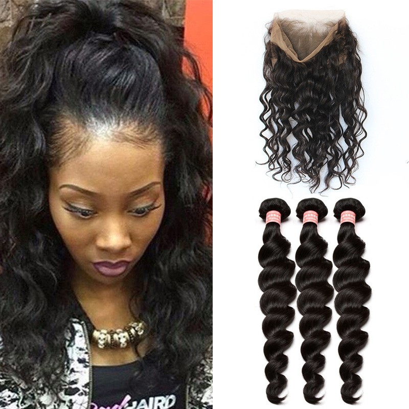 360 Lace Frontal Closure With 3 Bundles Loose Wave Brazilian Virgin Hair  360 Lace Band with 3672ea369