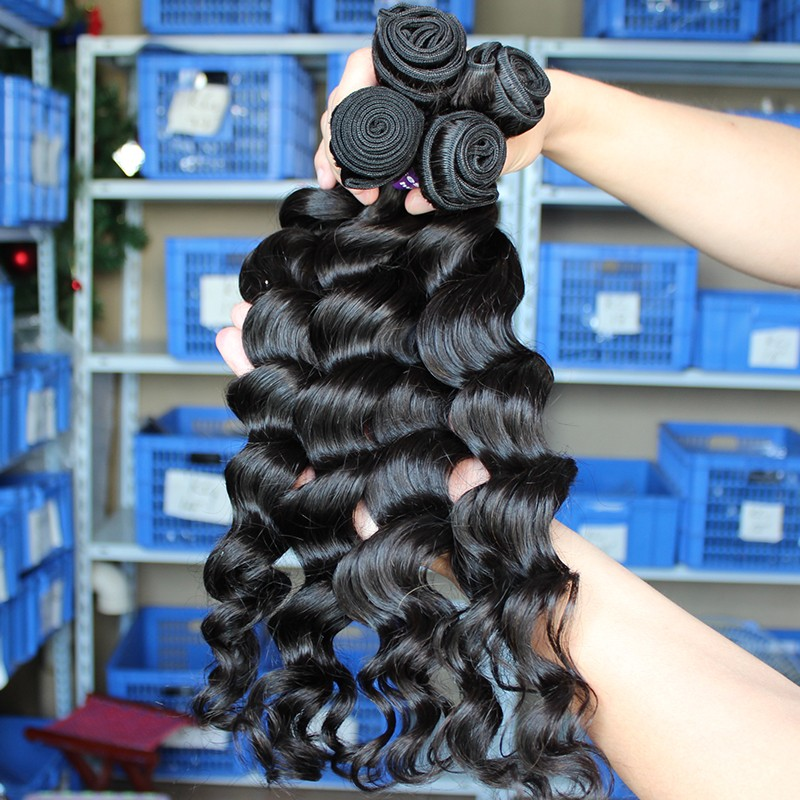 Indian Remy Human Hair Extensions Weave Loose Wave 4 Bundles Natural
