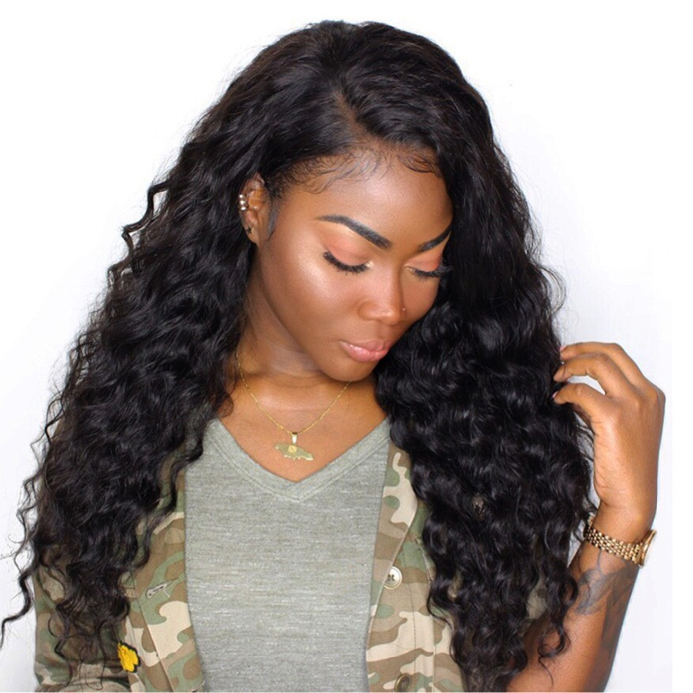 Curly 250 Density 13x6 Lace Front Human Hair Wig Black Women Deep Part Baby Hair Pre Plucked Bleach Knot Brazilian Remy Eseewigs Human Hair Lace Wigs