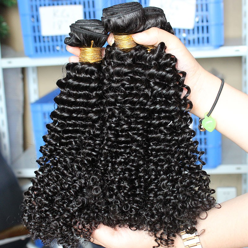 Natural Color Malaysian Virgin Hair Kinky Curly Hair Weave 3 Bundles