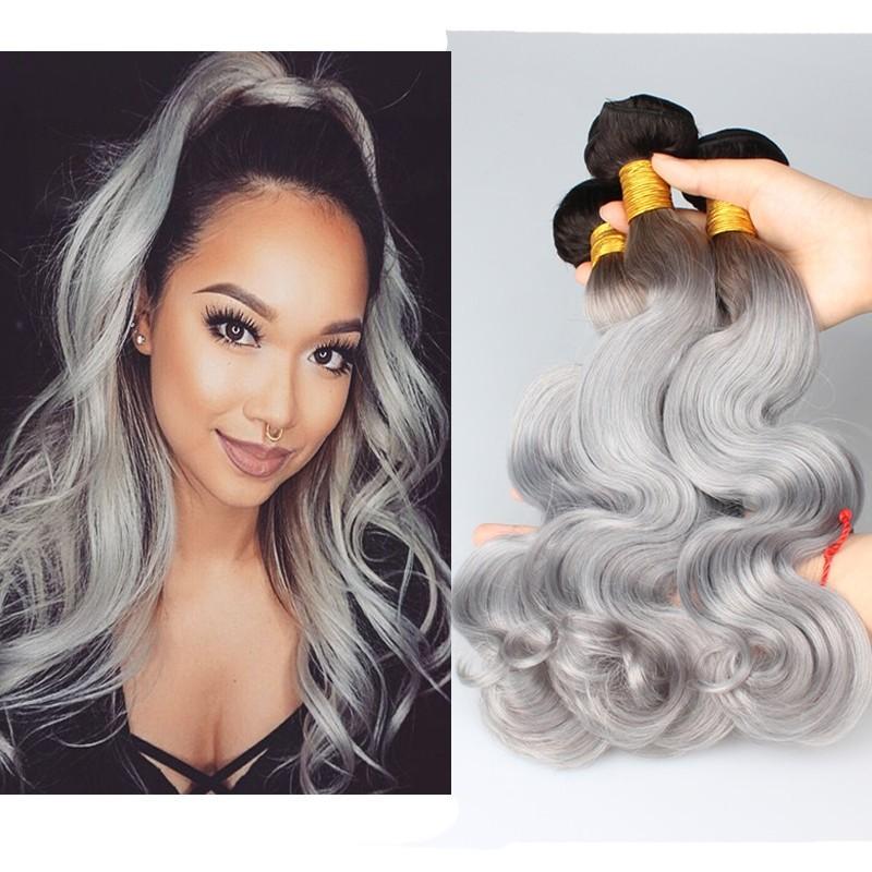 Color Platinum Grey Body Wave Brazilian Virgin Hair Weaves 3pcs