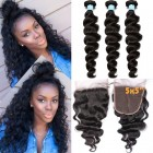 Brazilian Hair Weave Bundles With Closure 8A Loose Wave With Closure 3 Bundles Honey Queen Hair Products With Closure Bundle