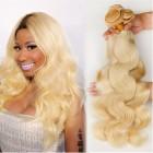 Platinum Blonde Virgin Hair #613 Color  Body Wave Brazilian Virgin Human Hair Weave 3pcs Bundle