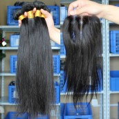 Natural Color Silk Straight Brazilian Virgin Human Hair Weaves 4pcs Bundles
