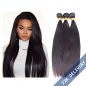 8A Natural Color Silk Straight Brazilian Virgin Human Hair Extensions Weave 3 Bundles