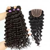 Deep Wave Brazilian Virgin Hair Free Part Lace Closure with 3pcs Weave Bundles