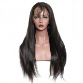 Natural Color Unprocessed Brazilian Virgin 100% Human Hair Silky Straight Full Lace Wigs