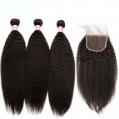 Brazilian Virgin Hair Kinky Straight Free Part Lace Closure with 3pcs Weaves