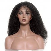 Natural Color Brazilian Virgin Human Hair Afro Kinky Curly Wig Lace Front Wigs