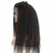 Natural Color Brazilian Virgin Human Hair Kinky Straight Wig Lace Front Wigs