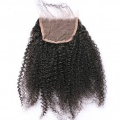Mongolian Virgin Hair Afro Kinky Curly Three Part Lace Closure 4x4inches Natural Color