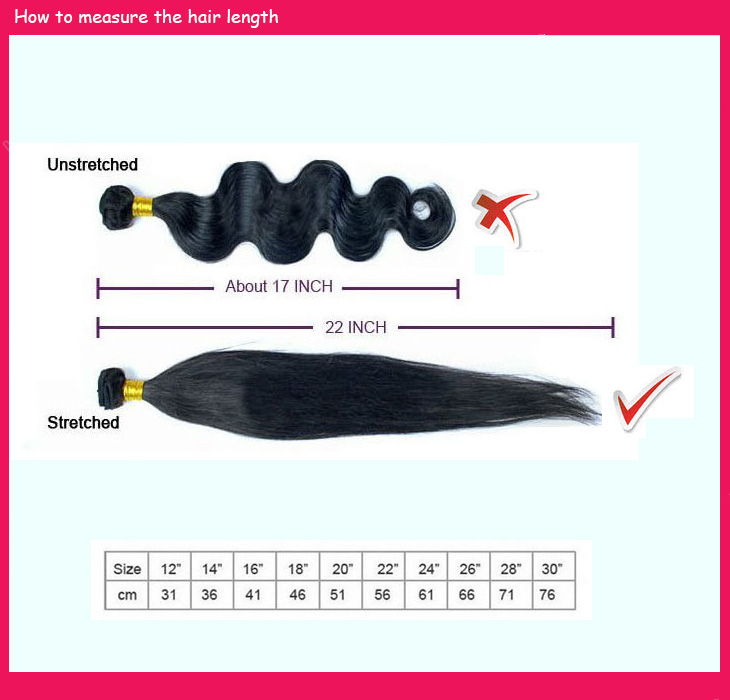 HoneyBeautyHair.com How to measure hair length on hair extensions