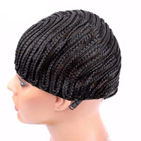 Cornrows Wig Cap With Adjustable Strap Easier To Sew In For Loss Hair Black Color
